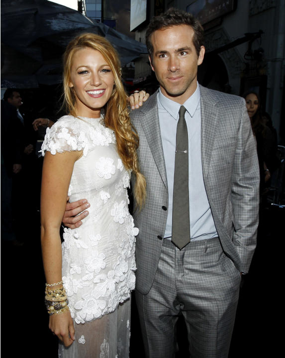 Blake Lively, left, and Ryan Reynolds at the premiere of