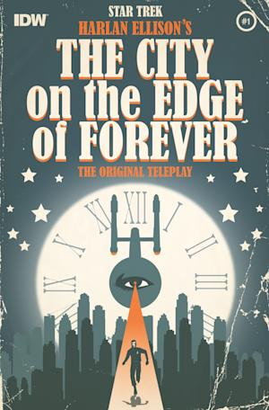 """This image released by IDW shows the cover of """"Star Trek"""" tale """"City on the Edge of Forever."""" Ellison's classic """"Star Trek"""" tale """"City on the Edge of Forever"""" is getting its complete, expanded and original adaption, more than four decades after it aired in a five-part mini-series from IDW Publishing. He says the adaptation stays true to his original telling and intent, and it expands fully on that which appeared on the television series in 1967 to its full form. IDW, he says, has taken his script and is doing the series """"line by line"""" with writers Scott and David Tipton and art by J.K. Woodward.(AP Photo/IDW)"""