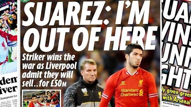 Luis Suarez dominates the papers