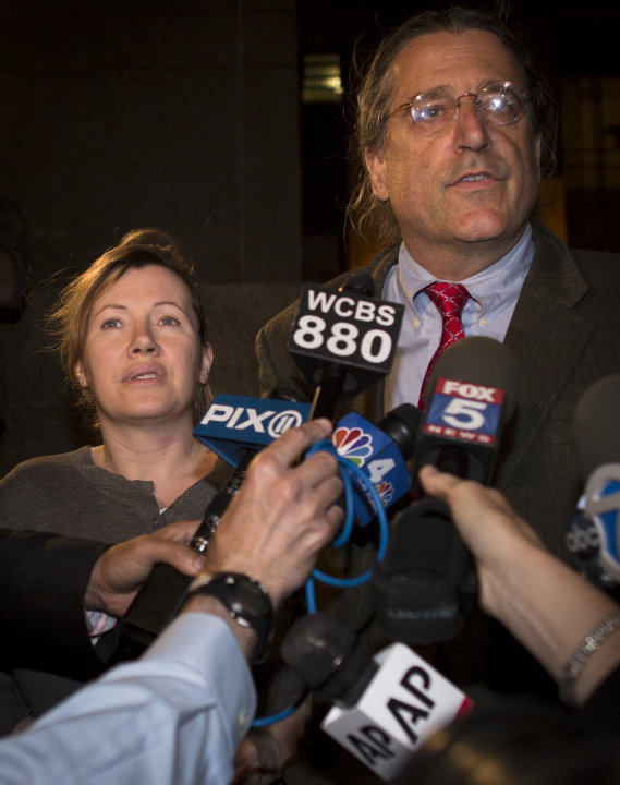 Anna Gristina, left, stands beside her lawyer, Norman Pattis, as he addresses the press following her exit from Manhattan Criminal Court, Tuesday, June 26, 2012, in New York. Gristina has pled not gui