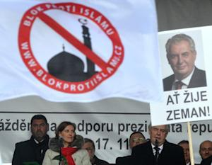 Czech President Milos Zeman, pictured speaking at an…