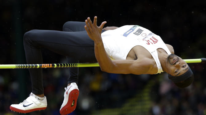 Jamie Nieto competes in the men's high jump finals at the U.S. Olympic Track and Field Trials Monday, June 25, 2012, in Eugene, Ore. (AP Photo/Eric Gay)