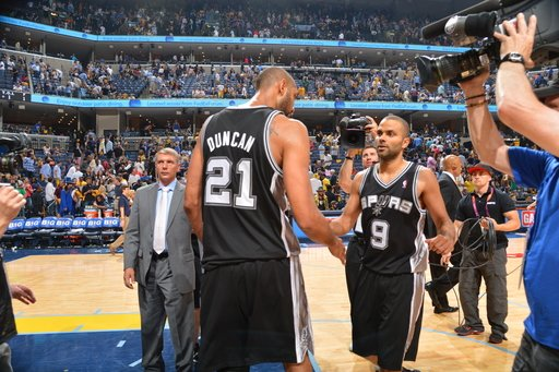 MEMPHIS, TN - MAY 25: Tim Duncan #21 and Tony Parker #9 of the San Antonio Spurs congratulate eachother against the Memphis Grizzlies in Game Three of the Western Conference Finals during the 2013 NBA