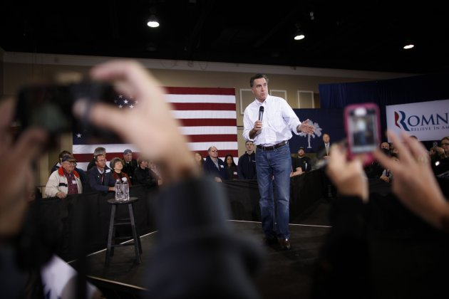 Republican presidential candidate, former Massachusetts Gov. Mitt Romney campaigns at the Florence Civic Center in Florence, S.C., Tuesday, Jan. 17, 2012. (AP Photo/Charles Dharapak)