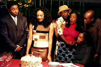 Allen Payne , Melissa De Sousa , Tracy Morgan , Paula Jai Parker , Erika Alexander , and T.E. Russell in Exodus Entertainment's 30 Years To Life