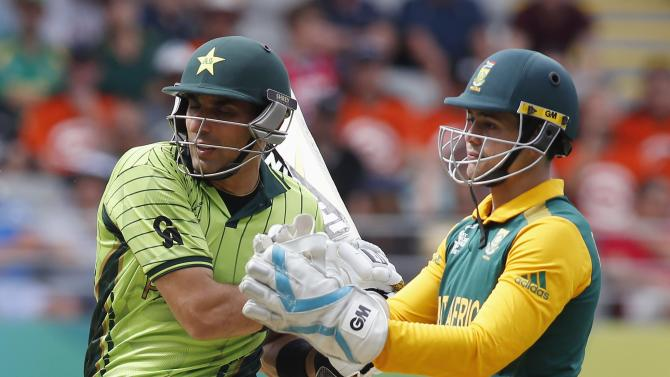Pakistan's Younis Khan hits a four during their Cricket World Cup match against South Africa in Auckland