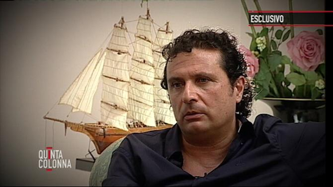 "In this frame grab taken from video and released by Italian media conglomerate Mediaset on Tuesday, July 10, 2012, Francesco Schettino, the captain of the Costa Concordia cruise ship which ran aground in January off the coast of Isola del Giglio, Italy, killing more than 30 people, is seen during an exclusive interview to the ""Quinta Colonna"" programme that was broadcast, Tuesday, July 10, 2012 on Mediaset Channel 5. Schettino is accused of causing the ill-fated cruise liner to hit rocks off the coast of Tuscany's Isola del Giglio on January 13, 2012, killing 32 people when the ship capsized and sank with over 4,000 people on board. Schettino, who was released from house arrest on Thursday July 6, denies the charges against him that include manslaughter, causing a shipwreck and abandoning ship. (AP Photo/Mediaset, HOEP)"