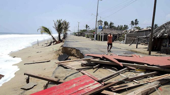 The remains of a house that was damaged by strong waves are seen at Azul beach in Coyuca de Benitez