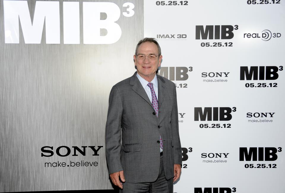 "Actor Tommy Lee Jones arrives at the premiere of ""Men in Black 3"" at the Ziegfeld Theater on Wednesday May 23, 2012 in New York. (Photo by Evan Agostini/Invision/AP)"