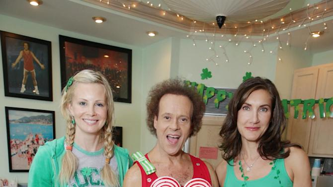 Monica Potter, Richard Simmons and Lollipop Theater's Evelyn Iocolano at St. Patty's Day Slimdown benefiting the Lollipop Theatre Network held at Slimmons on Sunday, Mar., 17, 2013 in Beverly Hills, CA. (Photo by Eric Charbonneau/Invision for Lollipop Theatre Network/AP Images)
