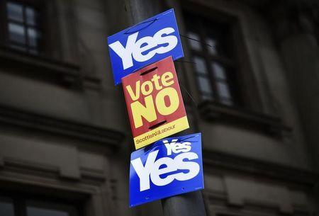 Posters for and against Scotland's independence fly from a pole in Clydebank, Scotland