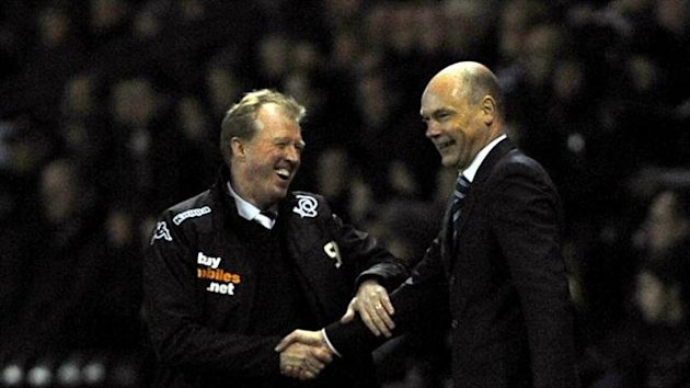 Uwe Rosler, right, changed his style to reap the rewards at Derby