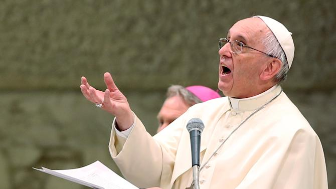 Pope Francis speaks during a special audience with Italian Christian Workers Association in Vatican