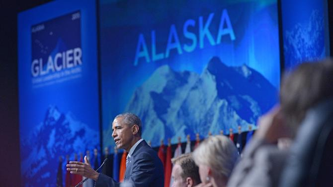 US President Barack Obama speaks at the Global Leadership in the Arctic: Cooperation, Innovation, Engagement and Resilience (GLACIER) Conference in the Dena'ina Civic and Convention Center on August 31, 2015 in Anchorage, Alaska