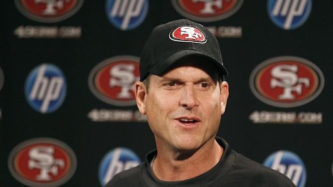 San Francisco 49ers coach Jim Harbaugh speaks to reporters at a news conference at the NFL football team's facility in Santa Clara, Calif., Monday, Oct. 17, 2011. (AP Photo/Jeff Chiu)