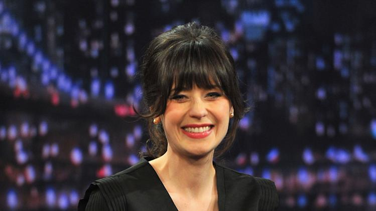 "Zooey Deschanel Visits ""Late Night With Jimmy Fallon"""