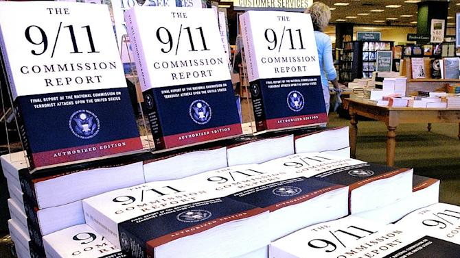 "FILE - This July 22, 2004 file photo shows a Barnes and Noble book store in Springfield, Ill., displaying ""The 9/11 Commission Report"", the final report of the National Commission on Terrorist Attack upon the United States.   The CIA released hundreds of pages of declassified documents related to the Sept. 11, 2001 attacks that detail the agency's budgetary woes leading up to the attacks and its attempts to track al-Qaida leader Osama bin Laden.  Many of the documents are cited in the 9/11 Commission report. (AP Photo/Seth Perlman)"
