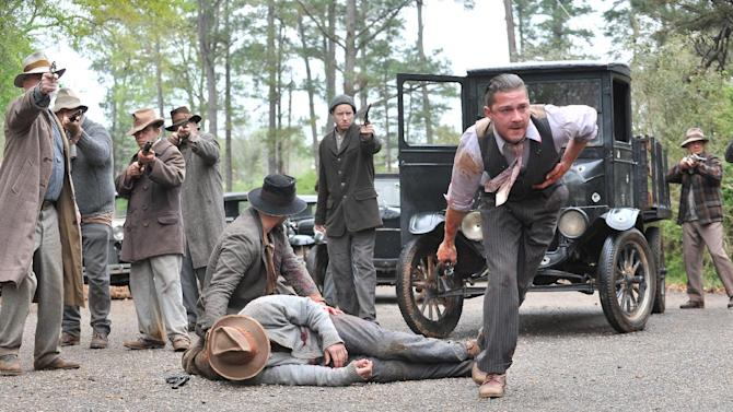 """This film image released by The Weinstein Company shows Shia LaBeouf, right, in a scene from """"Lawless."""" (AP Photo/The Weinstein Company, Richard Foreman, Jr.)"""