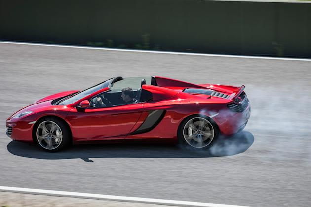 McLaren MP4 12C Spider: 	Near effortlessly fast so you're never quite sure if it's you or the on-board computers doing the driving if you're pushing the grip envelope, but it's great to have a world c