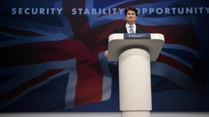 Chairman of the Conservative Party Andrew Feldman addresses the Conservative Party Conference in Manchester, Britain