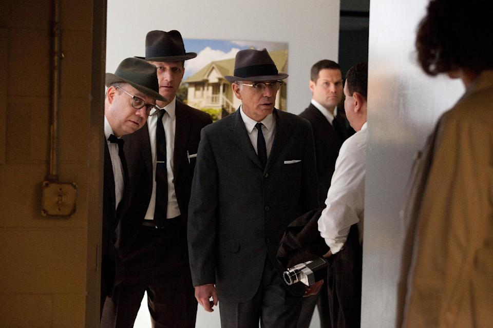 "This film image released by Exclusive Media Entertainment shows, from left, PAUL Paul Giamatti as Abraham Zapruder, Paul Sparks as Harry McCormick, and Billy Bob Thornton as Forrest Sorrels, the head of the Secret Service in Dallas, in a scene from ""Parkland."" (AP Photo/ Exclusive Media Entertainment, Claire Folger)"