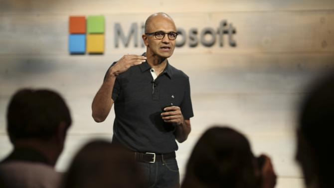 Microsoft CEO Satya Nadella gestures while speaking during a Microsoft cloud briefing event in San Francisco