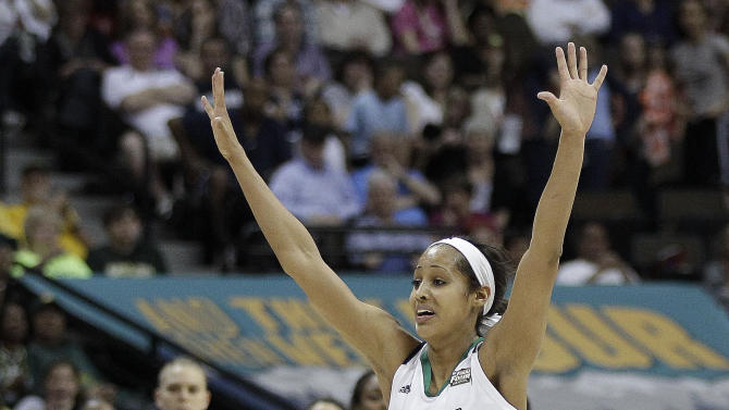Notre Dame guard Skylar Diggins (4) celebrates victory after the NCAA women's Final Four semifinal college basketball game against Connecticut in Denver, Sunday, April 1, 2012. Notre Dame won 83-75. (AP Photo/Eric Gay)