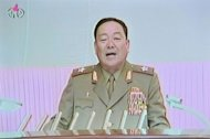 This screen grab taken from North Korean TV shows Hyon Yong-Chol, chief of the General Staff of the Korean People's Army