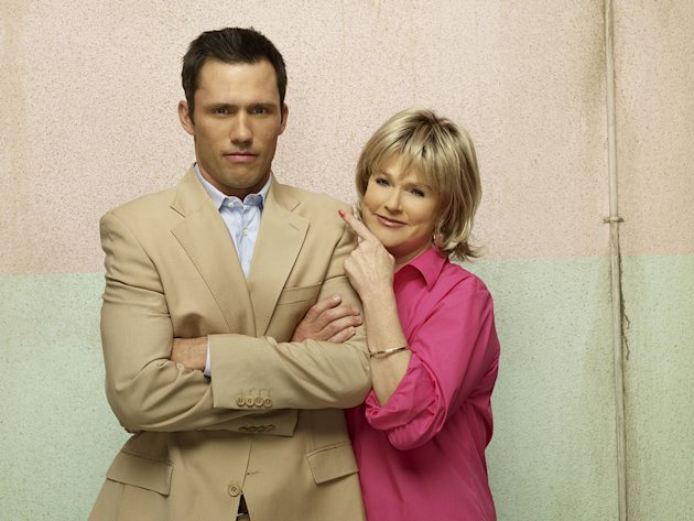 "Jeffrey Donovan as Michael Westen and Sharon Gless as Madeline Westen in ""Burn Notice."""