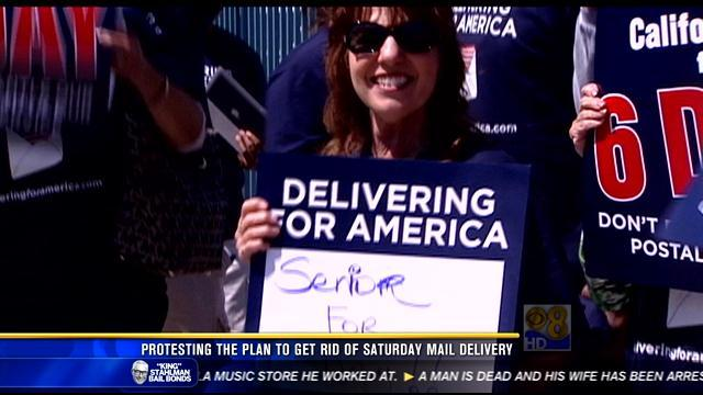 Protesting the plan to get rid of Saturday mail delivery