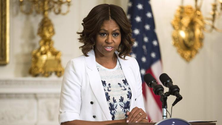 "U.S. First Lady Michelle Obama speaks about the ""Drink Up"" campaign at the White House in Washington"