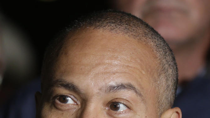 Massachusetts Governor Deval Patrick, speaks during a news conference, after the arrest of a suspect of the Boston Marathon bombings in Watertown, Mass., Friday, April 19, 2013. A 19-year-old college student wanted in the Boston Marathon bombings was taken into custody Friday evening after a manhunt that left the city virtually paralyzed and his older brother and accomplice dead. (AP Photo/Matt Rourke)