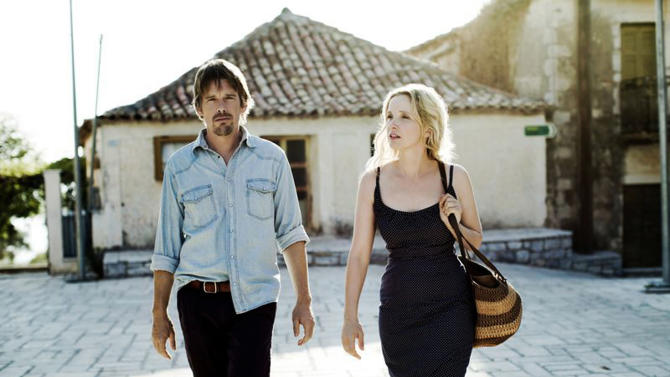 """This undated publicity photo released by Sony Pictures Classics shows, Ethan Hawke, left, and Julie Delpy, in a scene from the film, """"Before Midnight.""""  (AP Photo/Sony Pictures Classics, Despina Spyrou)"""