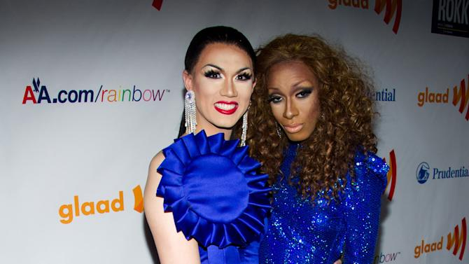 "FILE - In this March 19, 2011, file photo, Manila Luzon and Antoine Ashley, known as, Sahara Davenport arrive to the 22nd Annual GLAAD Media Awards in New York. The Logo TV channel says that Antoine Ashley, a contestant who competed on ""RuPaul's Drag Race"" as Sahara Davenport, has died. Ashley was 27. A channel spokesman says the cause of Ashley's death Monday, Oct. 1, 2012, was not immediately released.(AP Photo/Charles Sykes, File)"