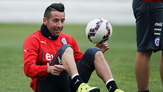 Chile's soccer player Isla participates in a team training session in Santiago