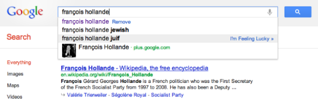 françois hollande google suggest