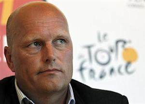 Saxo Bank-SunGard team manager Riis of Denmark attends a news conference at the Tour de France media centre in Les Herbiers
