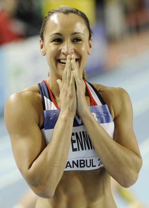 Britain's Jessica Ennis celebrates after the 800m race as she was falsely shown on the scoreboard as the winner of the Women's Pentathlon during the World Indoor Athletics Championships in Istanbul, T