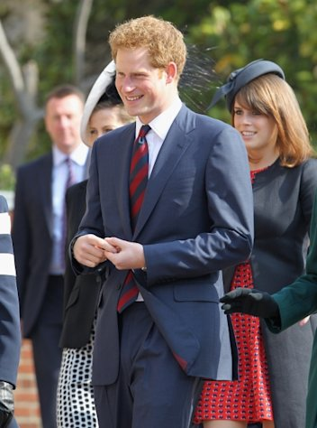 Prince Harry arrives for a thanksgiving service for the Queen Mother and Princess Margaret at St. George's Chapel in Windsor, England on March 30, 2012 -- Getty Images