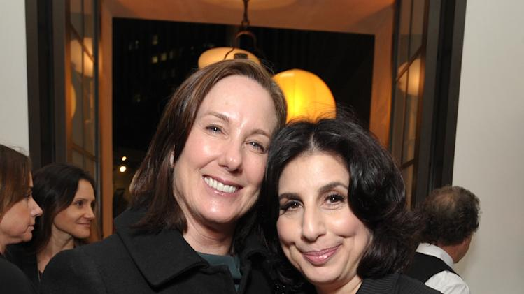 Kathleen Kennedy, left, and Sue Kroll, president of worldwide marketing at Warner Bros., attend The Hollywood Reporter Nominees' Night at Spago on Monday, Feb. 4, 2013, in Beverly Hills, Calif. (Photo by John Shearer/Invision for The Hollywood Reporter/AP Images)