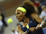 Serena Williams returns a point against Coco Vandeweghe during in their women&#39;s 2012 US Open match at the USTA Billie Jean King National Tennis Center in New York on August 28. Williams won 6-1, 6-1