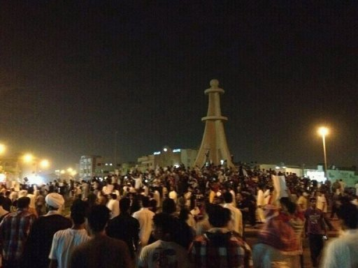 "Shiite demonstrators gather in the Saudi district of Qatif on July 8. Saudi Arabia has hit out at a Russian official for his remarks on unrest in the kingdom's east, saying his comments were a ""blatant interference"" in its internal affairs"