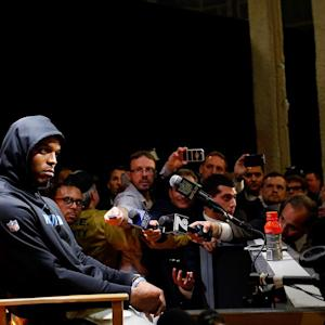 Cam Newton walks out of press conference
