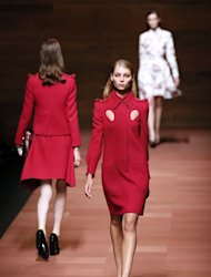 A model presents a creation by Carven during the Spring/Summer 2013 ready-to-wear collection show on September 27, 2012 in Paris