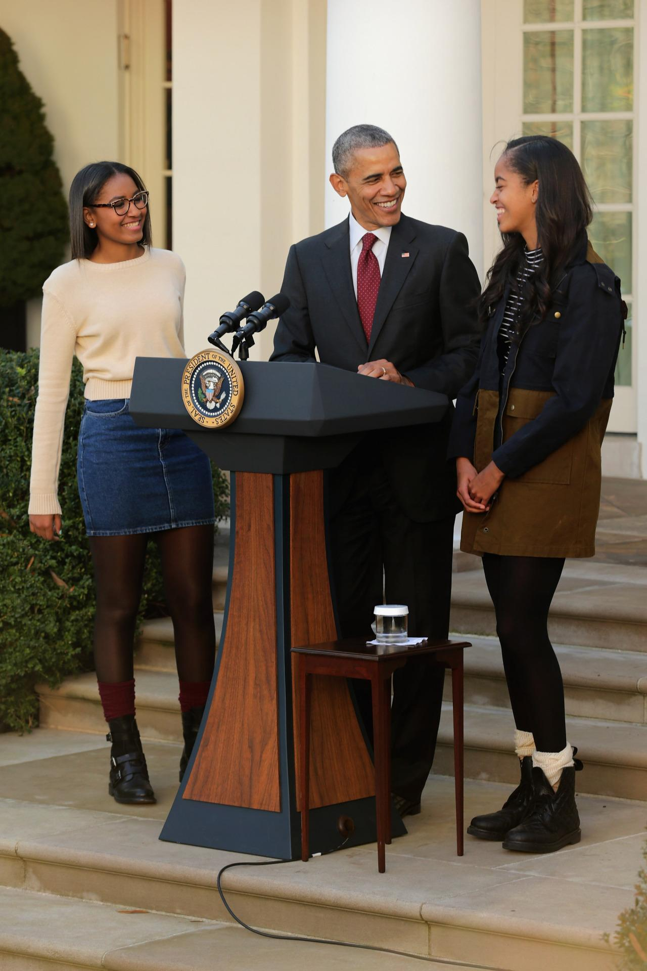 Sasha and Malia join President Obama for the 2015 presidential turkey pardon