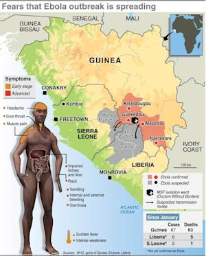 Map of West Africa charting the spread of the Ebola …