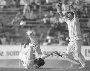 David Bairstow runs out S Venkataraghavan in a tense finish at the Oval in 1979.