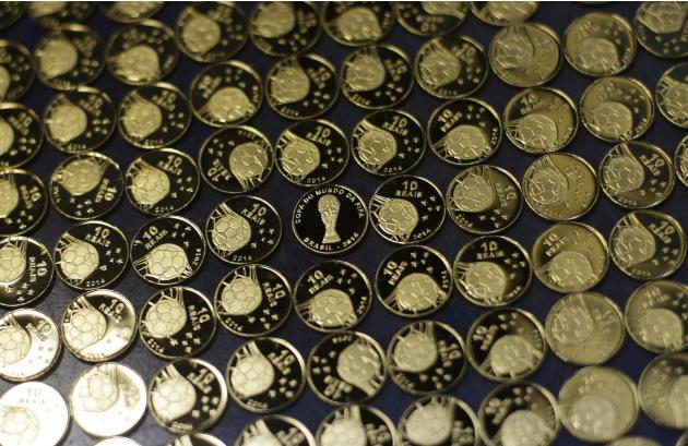 FIFA 2014 World Cup commemorative gold coins are pictured in Casa da Moeda do Brazil during its production in Rio de Janeiro