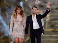 Jennifer Lopez and Marc Anthony hold hands at the finale of the Q'Viva! The Chosen Live show at the Mandalay Bay Events Center in Las Vegas on May 26, 2012 -- Getty Images