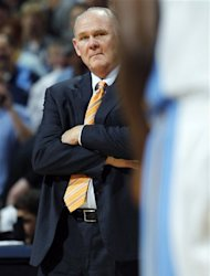 Denver Nuggets head coach George Karl looks on against the Los Angeles Lakers in the fourth quarter of the Nuggets&#39; 113-96 victory in Game 6 of the teams&#39;  first-round NBA basketball series in Denver on Thursday, May 10, 2012. (AP Photo/David Zalubowski)